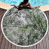 Toalla de playa con borla redonda, diseño de árbol en primavera, aspecto natural, aspecto natural, alfombra de yoga, mantel de picnic, tela de 120 cm