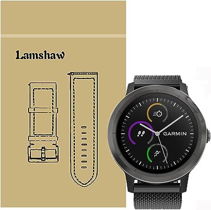 For Garmin Vivoactive 3 Band, Lamshaw Magnetic Milanese Loop Stainless Steel Magnet Closure Lock Straps for Garmin Vivomove HR / Garmin Vivoactive 3 Band (Black)