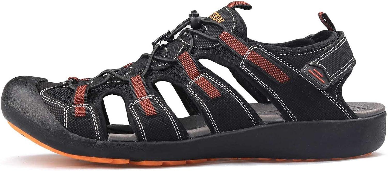 CuriousLady-sandal Sandals Men Summer Hiking shoes Beach Flat Breathable Leather shoes,Black orange,8