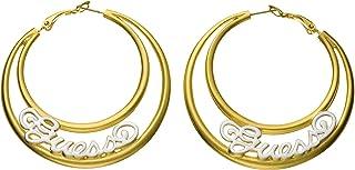 Guess UFE30806 Engraved Logo Filigree Hoop Earrings for Women