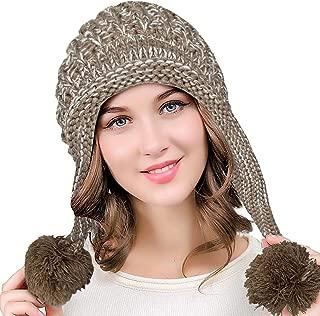 DOCILA Winter Pom Knit Hat for Women Warm Fleece Lined Peruvian Earflap Beanie Skull Cap