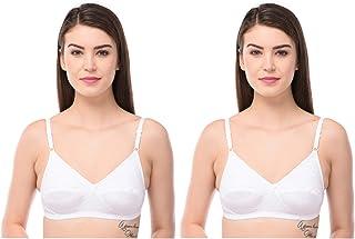 GirlsNCurls Women's Everday Cotton Bra Full Coverage Bra Non Padded Wire Free Bra Lingerie White