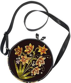 Ahomy Damen-Umhängetasche, rund, Blumen- und Blattstickerei, Handy, Mini-Umhängetasche, Geldbörse