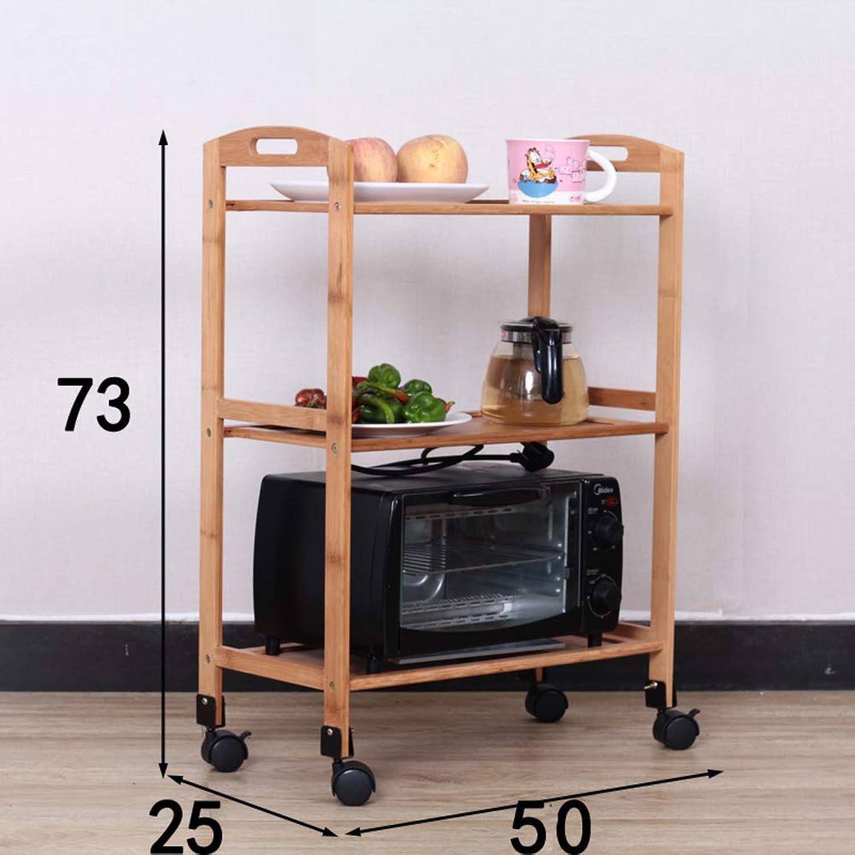 Restaurant Kitchen cart, 3 Storage Shelves Multi-Layer Home Floor Solid Wood Dining cart Cart Hotel Vegetable Rack Serving cart-E