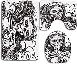 KRWHTS Sexy Skull Girl with Floral Veil Ceremony Day of The Dead Bride Skeleton Lady Art 3 PCS Set Non-Slip Bath Mat Contour Rug Toilet Lid Cover