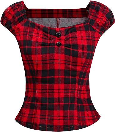 Las Mujer Vintage Algodón Polka Dot 50s Camisetas Tops Retro De Blusa tee