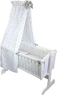 WALDIN Baby Bollerwagen,Stubenwagen,komplett mit Zubehör,Stoffe Weiß//Sterne-mint