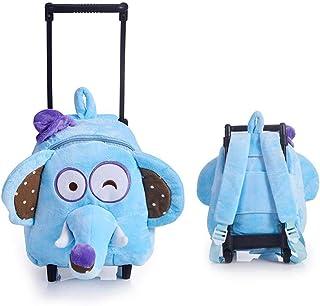 Rolling Backpack,Hamkaw 3D Plush Toddler Backpack Cute Zoo Printed Detachable Kids Backbag School Bookbag Wheeled Trolley Luggage for Elementary Students Preschool Children Boys Girls