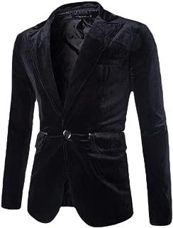 Men Slim Fit Notched Lapel 1 Button Long Sleeve Velvet Suit Jacket