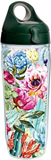 Tervis 1225011 Succulents and Cactus Tumbler with Wrap and Hunter Green with Gray Lid 24oz Water Bottle, Clear