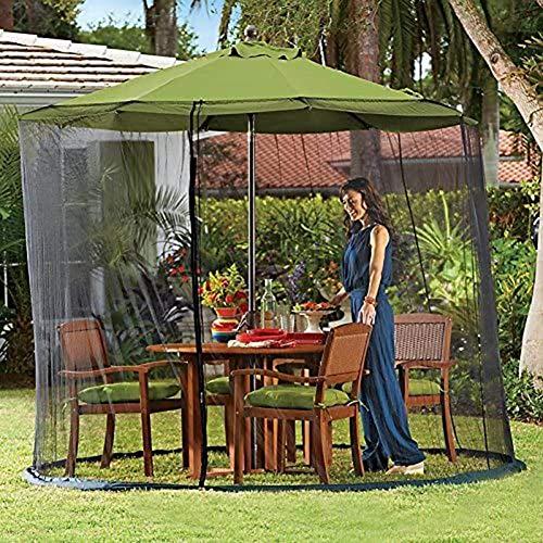 LNDDP 9ft Garden Umbrella Sun Parasol Table Mosquitera Cover Screen Netting Cover, Mosquito Net, Outdoor Garden Umbrella Table Screen, para cenas Camping al Aire Libre
