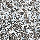 Papier peint perroquet bleu clair | Papier peint bleu pastel 37210-3 | Papier peint jungle intissé | Papier peint chambre & salle de bain