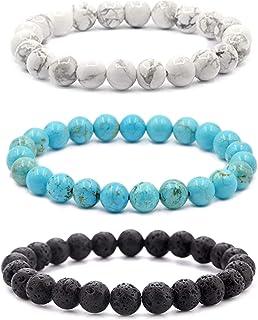 Set of 3 Crystal Bracelets - Healing Crystals, Energy, Worry Stone, Triple Protection Bracelets