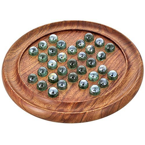 Shalinindia Games Solitaire Board In Wood With Glass Marbles by ShalinIndia