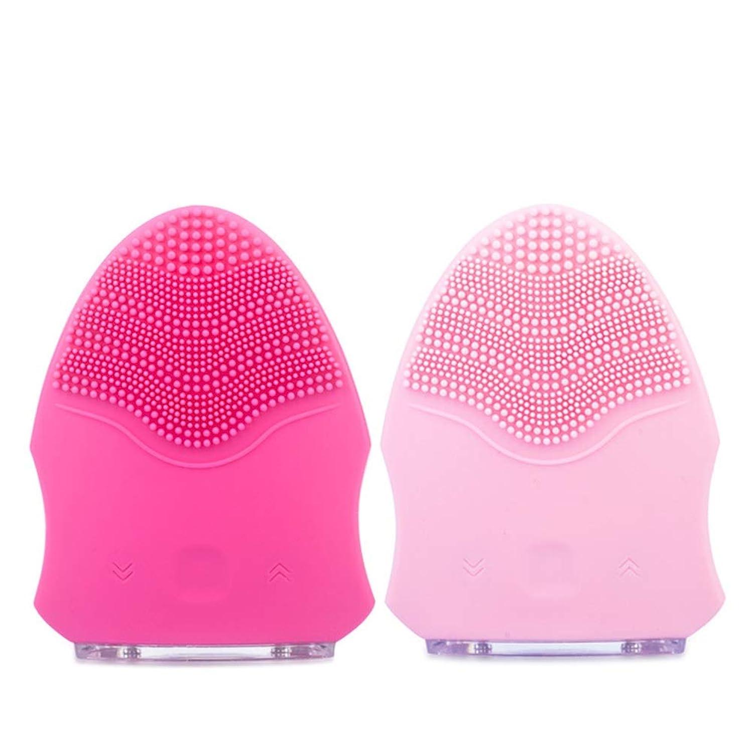翻訳形容詞スカイZXF 防水シリコーン洗顔器毛穴掃除美容器用充電器ピンク赤セクション 滑らかである (色 : Red)