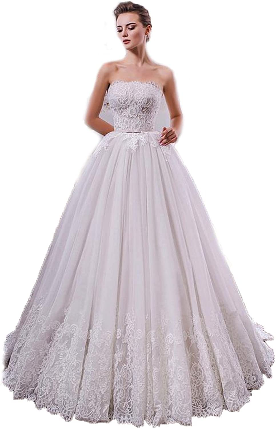 Chenghouse Lace Wedding Dresses Laceup Strapless Bridal Gowns