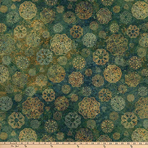 Northcott Stonehenge Solstice Celtic Medallions Green Fabric Fabric by the Yard