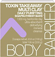 Body Barrier Toxin Takeaway Multi Clay Daily Purifying Soapnutrient Soap Bars, 2 Pack, 7.06 oz