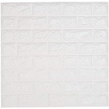 decorativo autoadhesivos aspecto de piedra Papel pintado con dise/ño de muro de piedra 3D resistente al agua papel de pared dormitorio AILIDA Blanco ladrillos para sal/ón paneles de pared