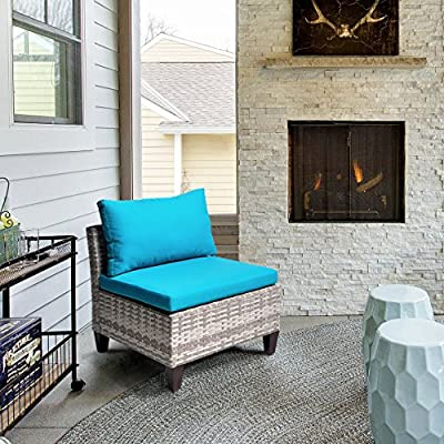 Outdoor Wicker Corner Chair Sofa, Patio Sectional Sofa Set Armless Corner Chair with 3.15'' Thickness Blue Cushions, Aluminum Frame, Long Lasting, UV/Water/Fade Resistant