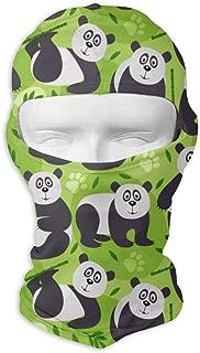 Comfortable Pattern Panda Bear Vector Headcover Soft Balaclava Headwear Fit Full Hood Face Mask White