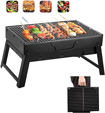 "Yahpetes Portable Charcoal Grill 13.78"" Folding BBQ Barbecue Folding Barbecue Rack Wire Meshes Portable Household Charcoal Gr"