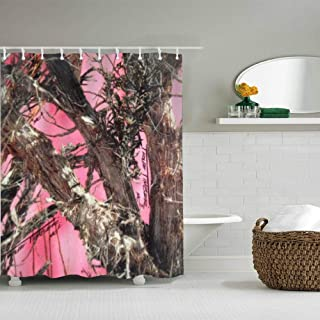 House Shower Curtain Decor, Pink Tree Camo Fabric Bathroom Set with Hooks, 72W X 72L Inches Long