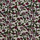 Chiffon Ausbrenner Stoff Blumenranken – schwarz/pink —