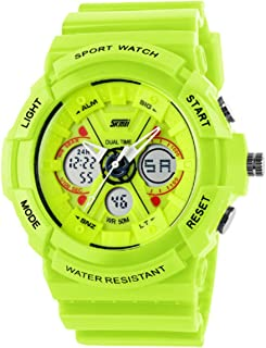 Bright Green Childrens Kids Analog Digital Dual Time Zone Multifunction Electronic Wristwatch for Boys