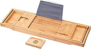 HEALIFTY Bathtub Tray - Craft Bamboo Bath Caddy Tray Retractable Bath Bridge Table Storage Rack Shelf Tablet Holder for Bed, Laptop, Reading