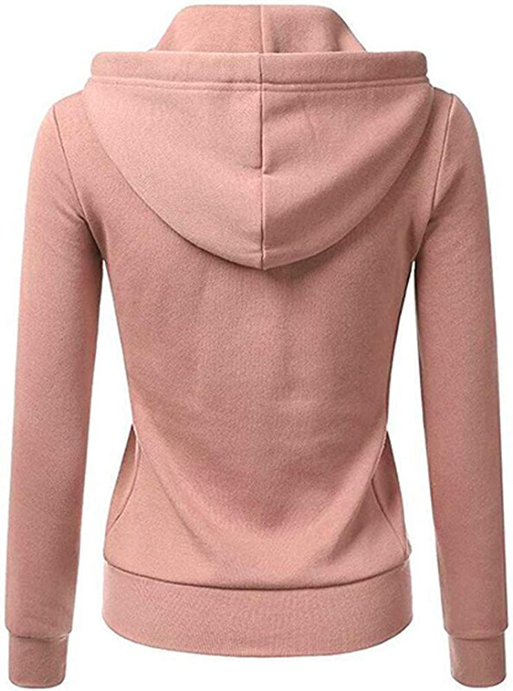 Women Regular Long Sleeve Patchwork Color Hooded Zipper Casual Sport Coat DZ