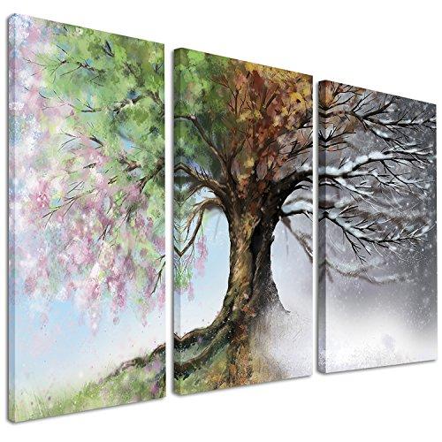 Designart Design PT9283-3P Four Seasons Print-36x28in-Multipanel, Green, 3Piece 3 Piece Tree Painting Canvas Art Print, 36x28-3 Panels