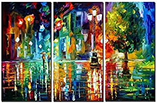 Amoy Art- 3 Panels Modern Abstract Landscape Artwork Night Rainy Street Canvas Painting Print Wall Art for Home Decorations Wall Décor with Stretched Frame Ready to Hang(12x24inx3pcs)