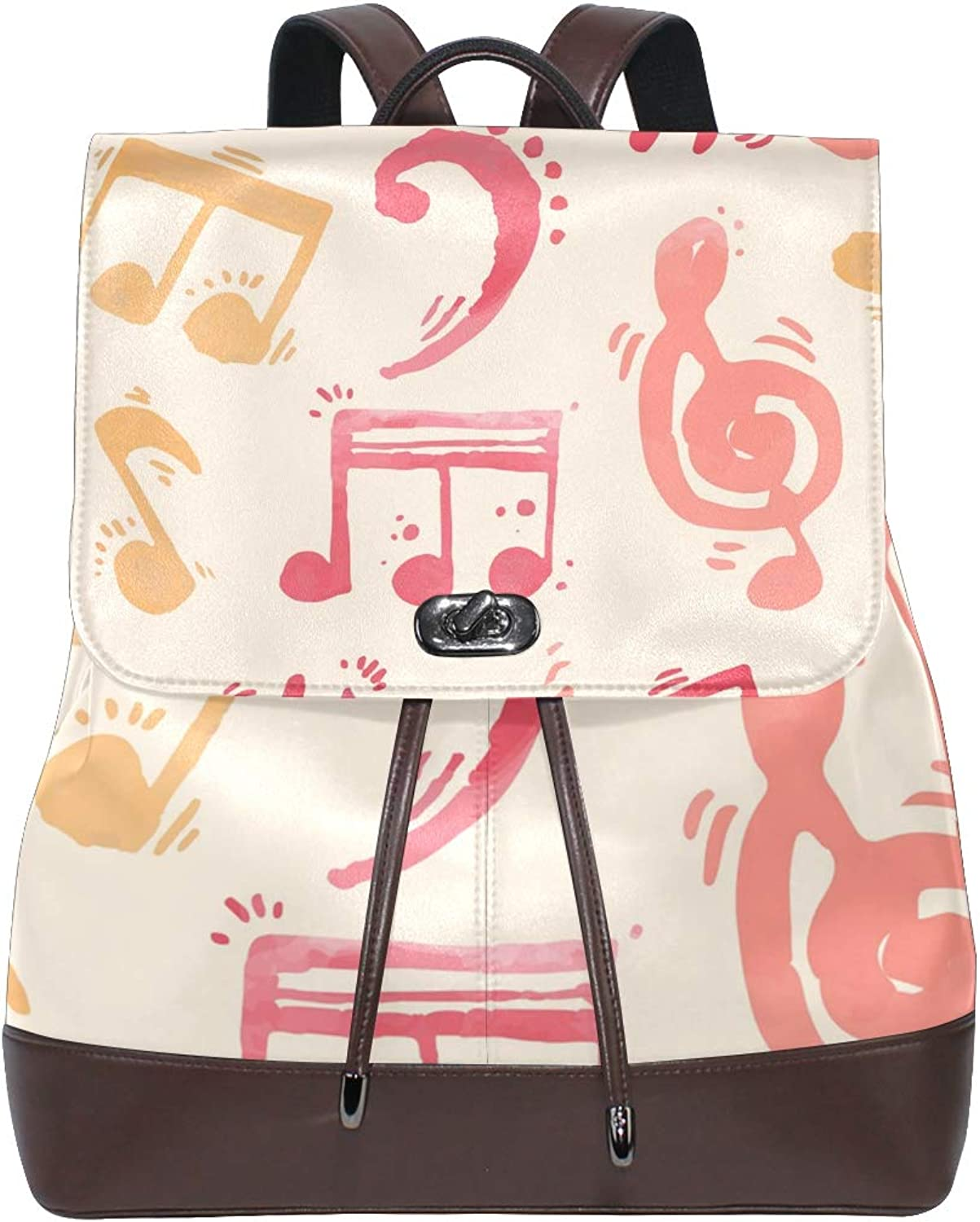 DEZIRO Leather Musical Note Painting School Pack Backpacks Travel Bag
