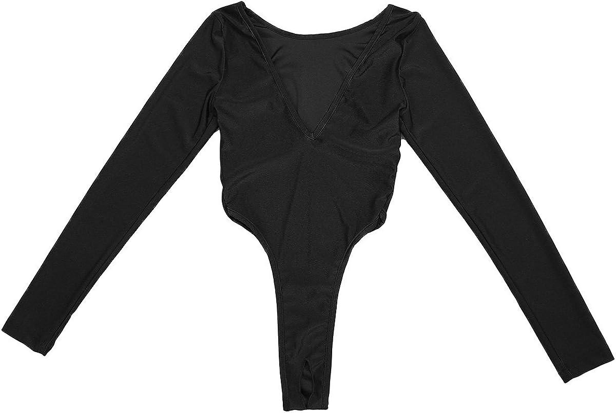 Shinsto Women's Spasm price Spandex V-Neck Brand Cheap Sale Venue Long High Stretchy Tops Sleeve Cu