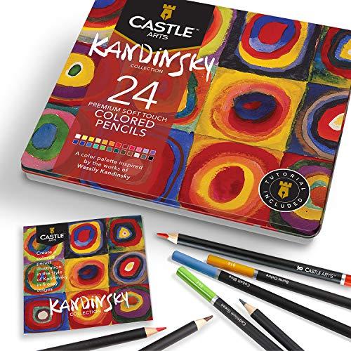 Castle Arts 24 lápices de colores en un estuche de metal, inspirado en Kandinsky. Perfecto para dibujar, hacer bocetos, colorear. Con núcleos blandos, mezcla superior y juego de capas