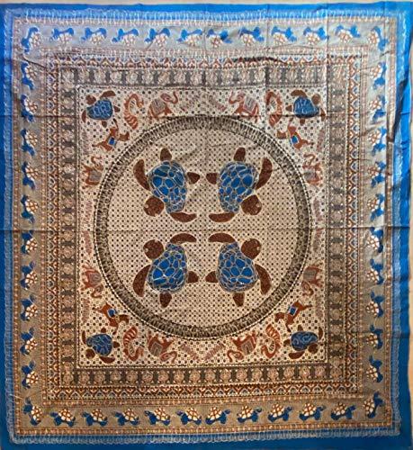 etnico Telo arredo Batik con Ricami Dorati arazzo 210 x 220 cm Circa Hippie Om Indiano Made in India colorato Spiaggia Copri Divano ajrak Tartarughe (Turchese)