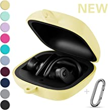 GEAK Portable Powerbeats Pro Case, 360° Protection Shockproof Soft Silicone Cover with Keychain Compatible for Beats Powerbeats Pro 2019, Milk Yellow