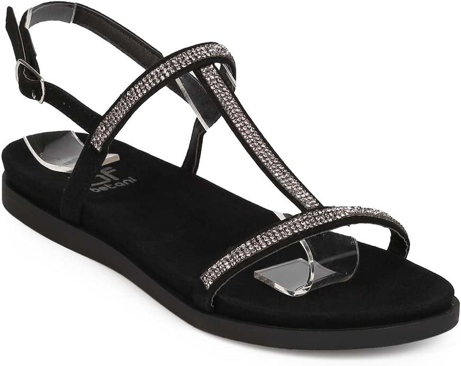 Women Suede Open Toe Rhinestone T-Strap Slingback Sandal EE66 - Black