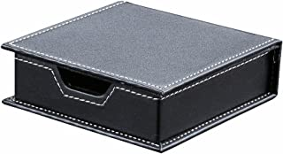 KINGFOM Desktop Organizer Supplies Leather Name Cards Holder Sticky Notes Dispenser Case with a Lid Cover 3.9 x 3.9 Inches(black)
