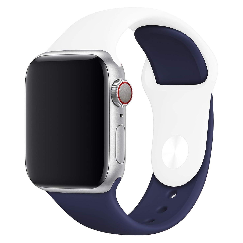和らげる耐久シールドスマートウオッチ Apple Watch スポーツバンド 42/44mm シリコン製 ベルト バンド Series 4/3/2 対応 腕時計バンド アップルウォッチ 交換用バンド ラバーベルト 【S6:ホワイト/ダークブルー】