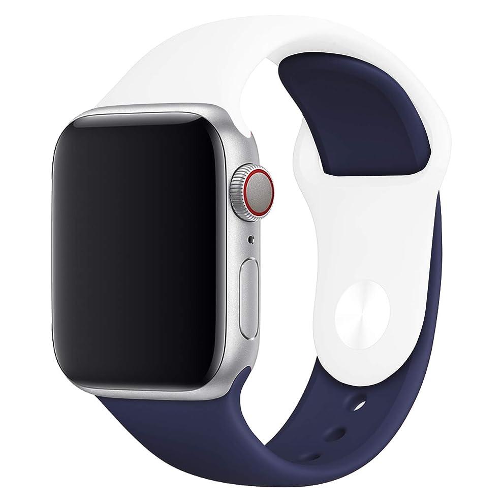 タイヤ送るラビリンススマートウオッチ Apple Watch スポーツバンド 42/44mm シリコン製 ベルト バンド Series 4/3/2 対応 腕時計バンド アップルウォッチ 交換用バンド ラバーベルト 【S6:ホワイト/ダークブルー】