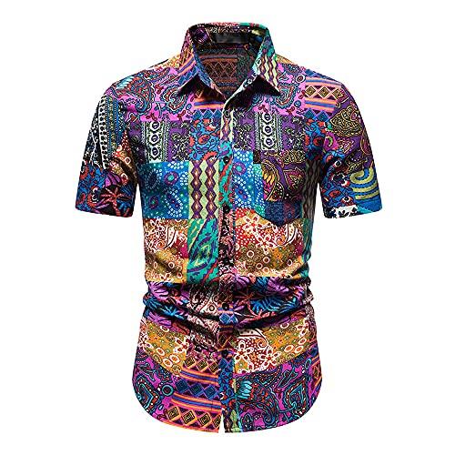 Hawaii Camisa Hombre Verano Cuello V Slim Fit Hombre Playa Shirt Botón Placket Manga Corta Cuello Kent Camisa Moda Estampado Deportiva Camisa Que Absorbe Correr Shirt D-Multicolor 4 L