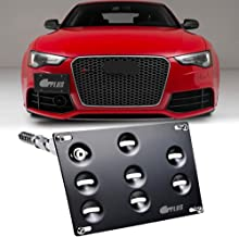 GTP Front Bumper Tow Hook License Plate Mounting Bracket Holder Relocator for Audi 08-15 A4 S4 (B8 ONLY) A5 S5, 11-15 A7 S...