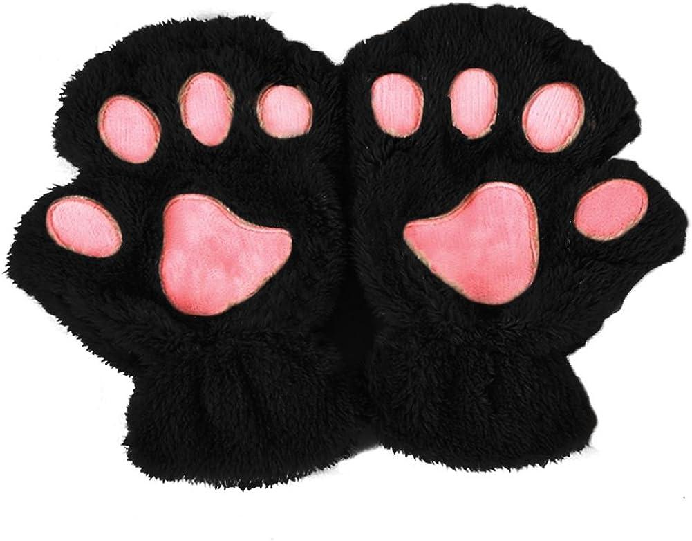 MEIYIN Winter Women Cute Cat Paw Claw Plush Mittens Short Fingerless Finger Half Gloves