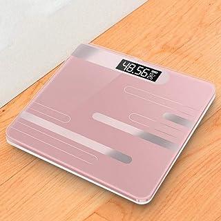 LIAOLEI10 Escala de peso Báscula de baño Báscula de peso corporal Mini recarga Escala de pesas digitales Sensor de pantalla LCD con temperatura Para Xiaomi para Mi, Línea Rose Gold