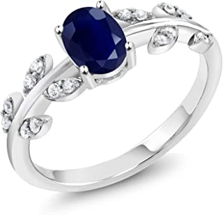 Gem Stone King Blue Sapphire 925 Sterling Silver Women's Olive Vine Women's Ring (1.23 Ct Oval Gemstone Birthstone Available 5,6,7,8,9)