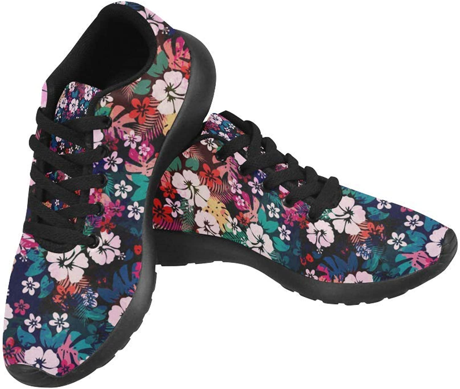 InterestPrint Hawaiian Tropical Floral Pattern Print on Women's Running shoes Casual Lightweight Athletic Sneakers US Size 6-15