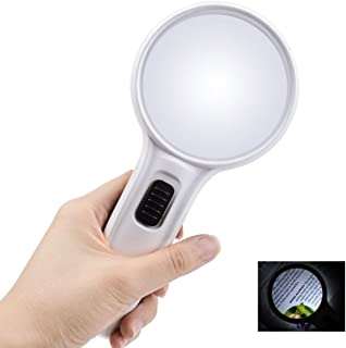 Globalstore 10X Lighted Magnifying Glass 3Inch Double Lens Loupe, Handheld Pocket 3 LED Reading Magnifier Portable