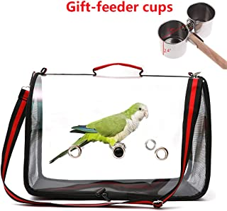 Gatycallaty Bird Carrier with Perch Parrot Travel Lightweight Bird Cage Backpack Space Capsule Bubble Bags